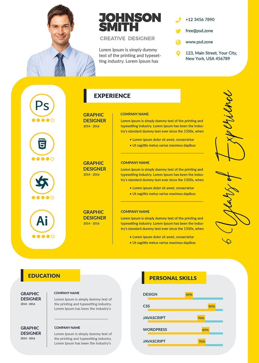 Psd Zone On Twitter Free A4 Size Resume Cv Psd Template Download