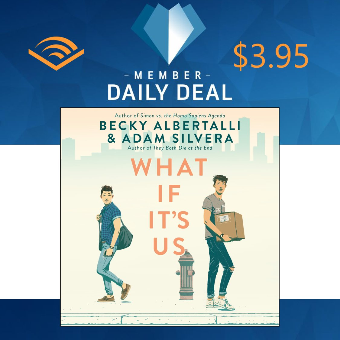 bestselling authors @beckyalbertalli and @AdamSilvera combine their talents in this funny, heartfelt collaboration about two boys who can't decide if the universe is pushing them together or apart. Get WHAT IF IT'S US for $3.95 today at @audible_com https://t.co/f39usTiSX6 https://t.co/BDPcvEcicM