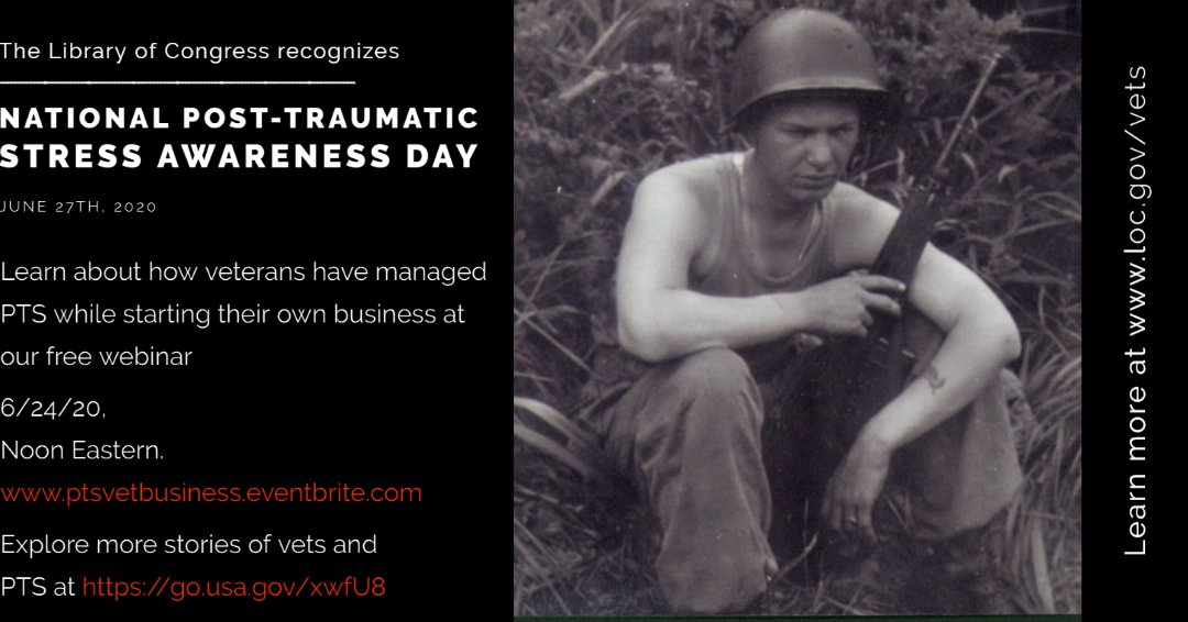 TODAY: Post-Traumatic Stress affects up to 20% of US veterans & countless nonveterans as well. Learn how veterans have managed PTS while starting their own businesses at our free webinar at noon ET 6/24 https://t.co/8yod871OVE #NationalPTSDay #VeteransHistoryProject https://t.co/0RI451s1oI