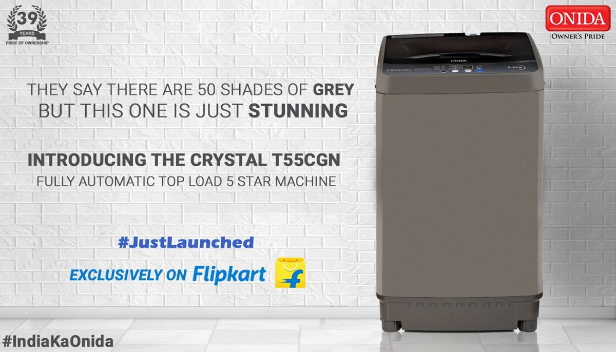 #JustLaunched : Onida has introduced yet another beauty! The Stunning 5star Crystal T55CGN Fully Automatic Top Load is now available on flipkart. - Check it out here - https://t.co/LaomGt5HHT. #IndiaKaOnida #50thShadeOfGrey #OwnersPride #ShareWithPride #India #Onida https://t.co/63st4PLtZ3