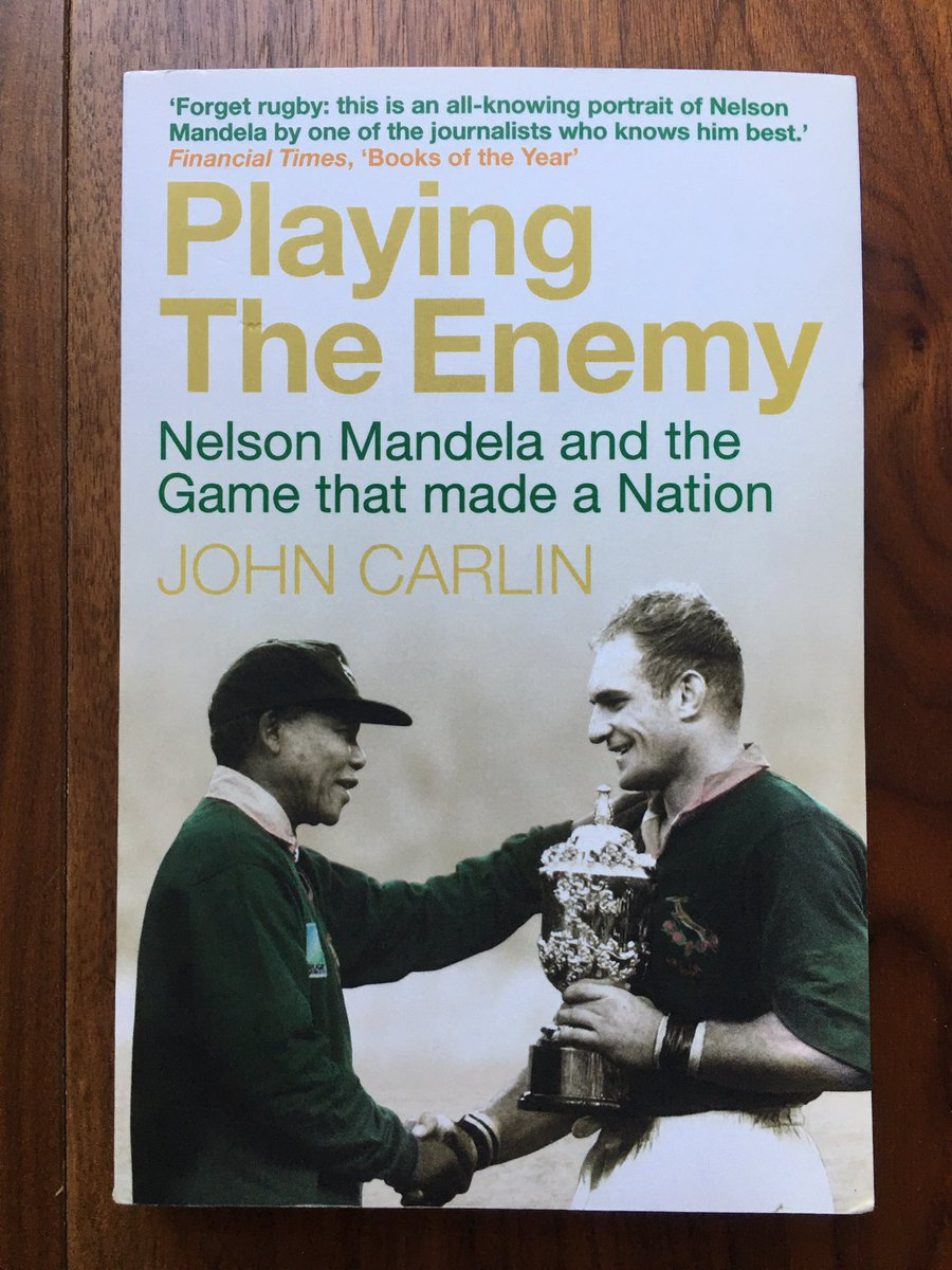 'Playing The Enemy'. THE book on the '95 @rugbyworldcup Mandela, Pienaar and the politics of the time. A must read.