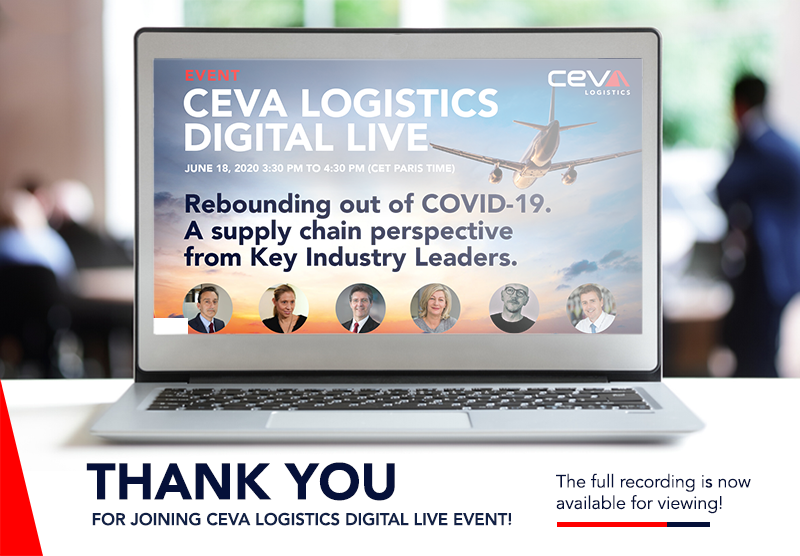 Last week we hosted the first CEVA Logistics Digital Live event. In case you missed it watch the full recording from the session here: https://t.co/k3E1aN4gF9 #CEVADigitalLive https://t.co/9OQu4k71c8