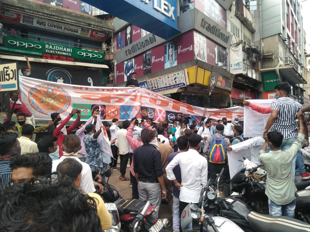 Watch: Karni Sena holds protest against Chinese products in Ahmedabad
