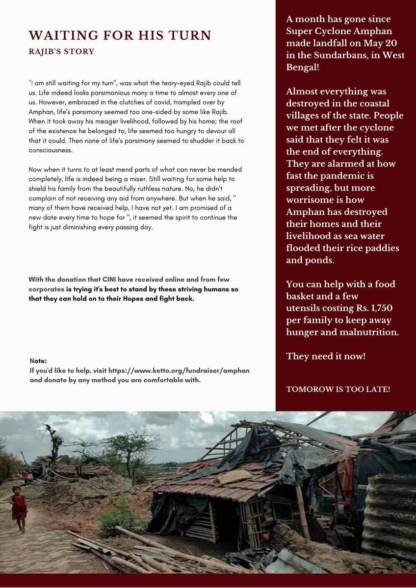 Stories you shouldn't miss | Waiting for his Turn   #casestudies #COVID__19 #COVID19India #amphansupercyclone #Amphan #amphancyclone #cycloneupdate #COVIDUpdates #SaveBengal #PrayForBengal #Sunderbans #donations  @KKRiders @GaurabBasuMDMPH @BBCNews @ndtv @ndtvfeed @CTVNews https://t.co/9LACjKQjYW