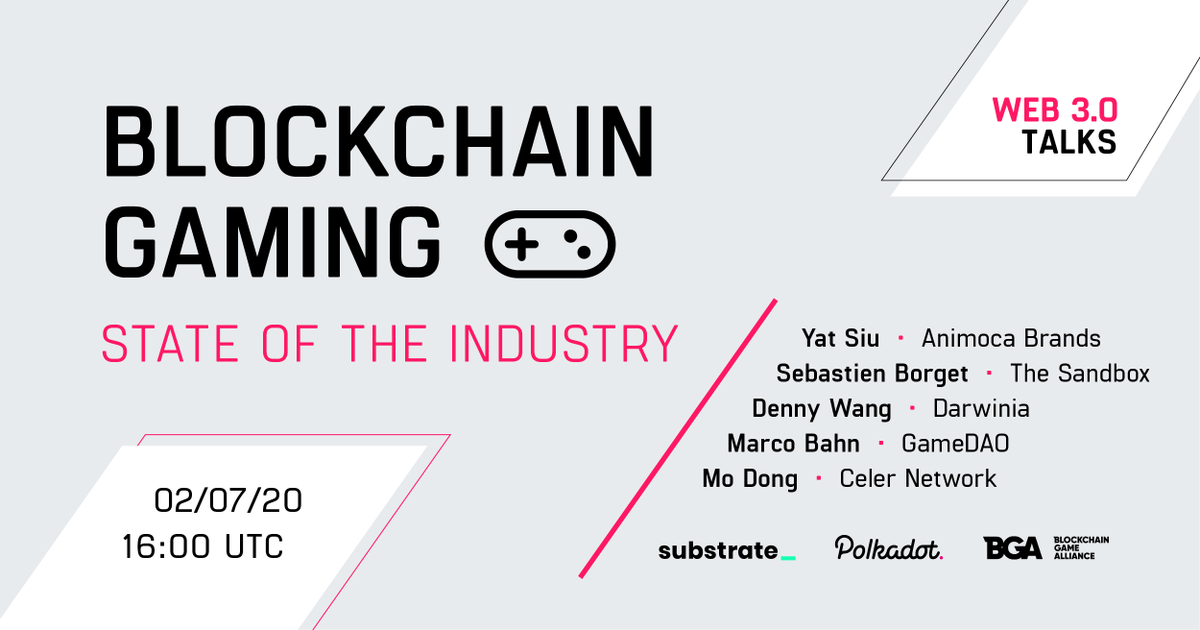 [FREE] Dont miss July 2 - Top blockchain gaming innovators on the current state of the industry, and views of the future. Talks by Yat Siu @animocabrands @TheSandboxGame @CelerNetwork @DarwiniaNetwork @BGameAlliance and GameDAO. crowdcast.io/e/dab7ykoj medium.com/blockchain-gam…