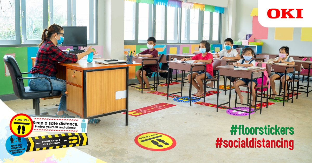 As educational establishments prepare for students to return safely, OKI Europe can help with free* #socialdistancing #floorstickers and graphics, for use in lecture theatres, classrooms, corridors, canteens and also outdoors: https://t.co/lE2mX1tyh0 https://t.co/dHeq0U90UZ