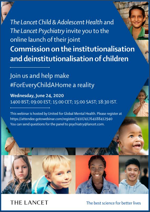 📅 Today 2pm (UK time) tune into the launch of #ForEveryChildAHome hosted by @UnitedGMH   Hear from Editors of @LancetChildAdol & @TheLancetPsych, authors from @lumos, @MaestralIntl, @unicefrw  & more!   📽️Register https://t.co/EAA7lC2ZKu https://t.co/CCARvIS0TT