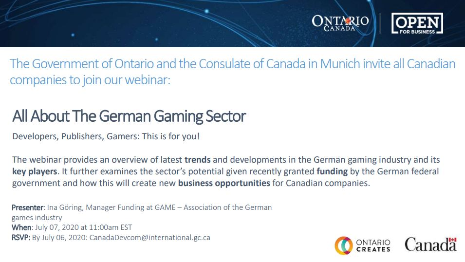 Great opportunity for #Canadian #videogame companies to learn more about the German #gaming industry from @game_verband in the lead up to @Devcom_conf / @gamescom https://t.co/FZRTWcYQ0m