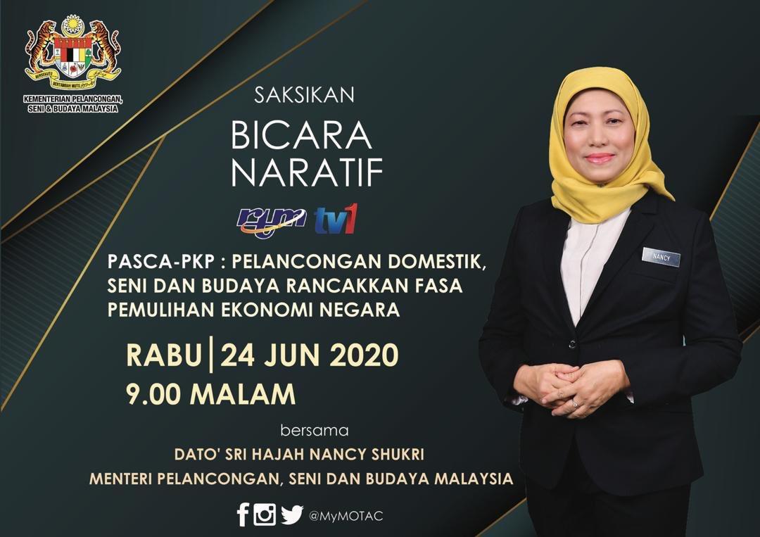 Saksikan YB @NancyShukri dalam slot #BicaraNaratif TV1, RTM bagi membincangkan tentang Pasca-PKP: Pelancongan Domestik, Seni dan Budaya Rancakkan Fasa Pemulihan Ekonomi Negara pada 24 Jun 2020 (Rabu) jam 9.00 malam ini.  @RTM_Malaysia https://t.co/21nEgCd5bU