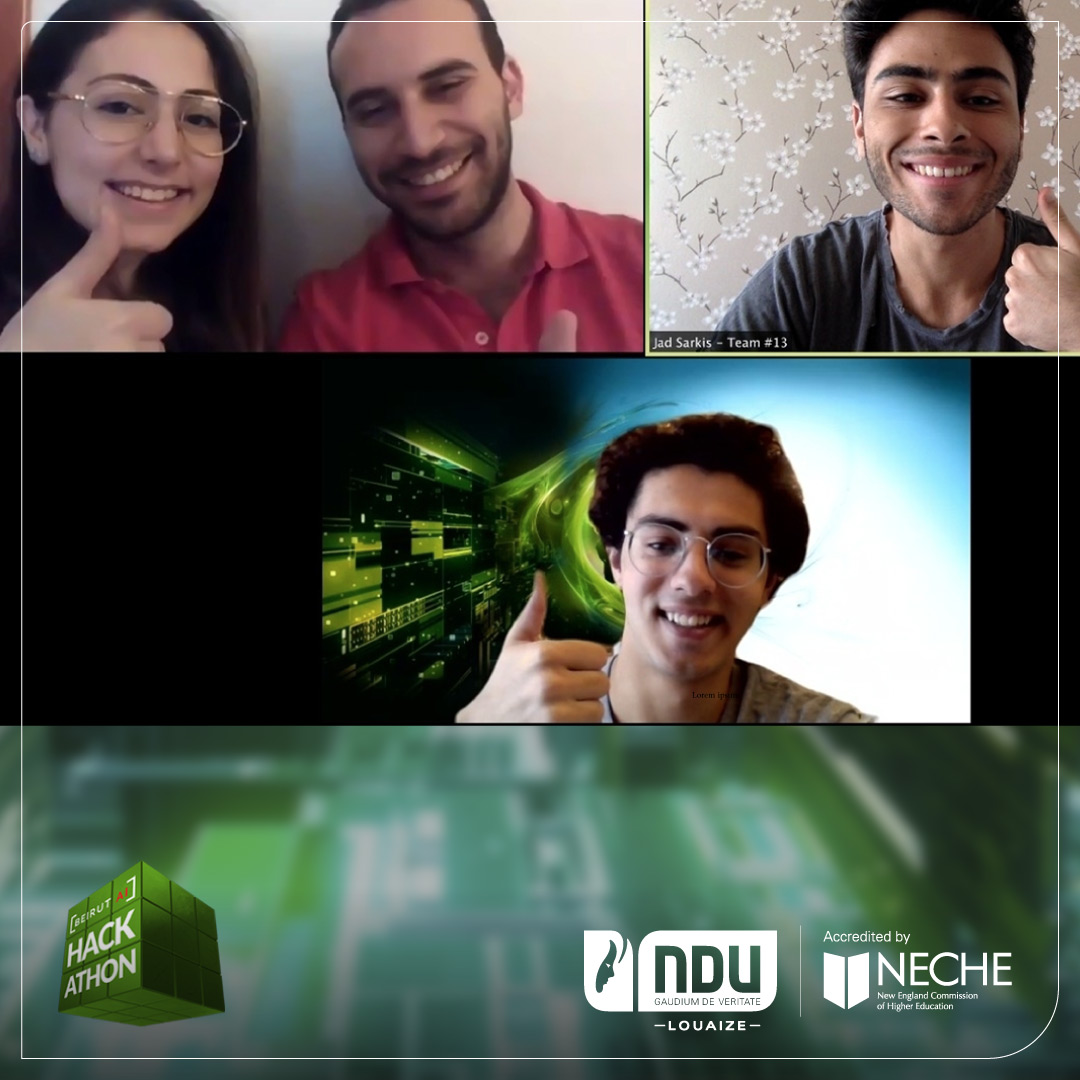 Congratulations to #NDUers Persicla Aramouny and Michael Khoury for winning 3rd place in the first Beirut AI Hackathon! More: https://t.co/p2Q4lDmIWw #NDUnews https://t.co/PBkn09AleC