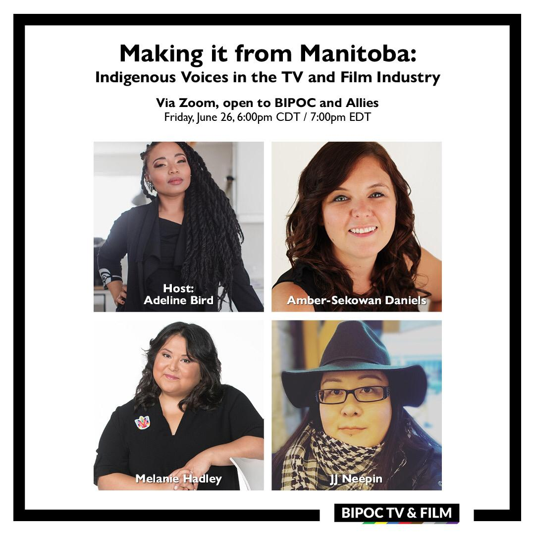 BIPOC TV&Film is partnering with filmmaker, producer, and host   Adeline Bird for a conversation about working in the industry outside of Winnipeg and what barriers Indigenous writers from outside of Manitoba face when it comes to getting jobs within the industry.   Link in bio. https://t.co/p5isF6TVIw
