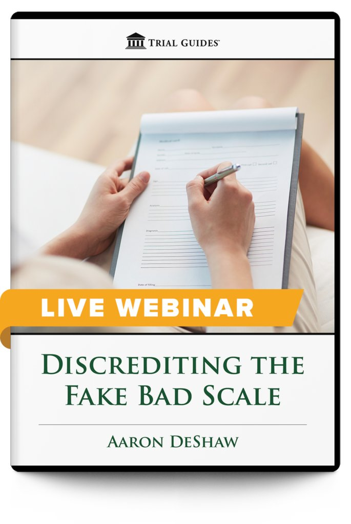 New Webinar!  Discrediting the Fake Bad Scale - with Trial Guides founder and noted brain injury lawyer, Aaron DeShaw  July 17, 2020 ♦ 12:30 PM ET ♦ 9:30 AM PT  Register and learn more here: https://t.co/JN6GdUfHBy https://t.co/SgpMwgKA4y