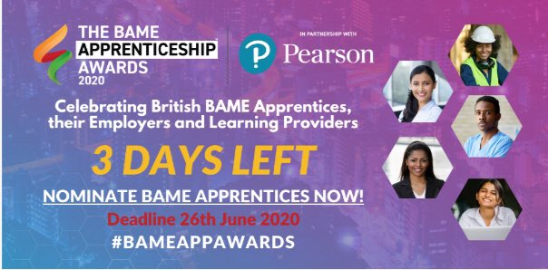 Show that #BlackLivesMatter! Enough talk already! How are you supporting Black talent?  3 days left to nominate a BAME apprentice, an employer and a learning provider at  https://t.co/VOdLerXp6q @ThinkFest  #bame #diversity #inclusion #apprentices #apprenticeships #BameAppAwards https://t.co/GpGA3FTJDW