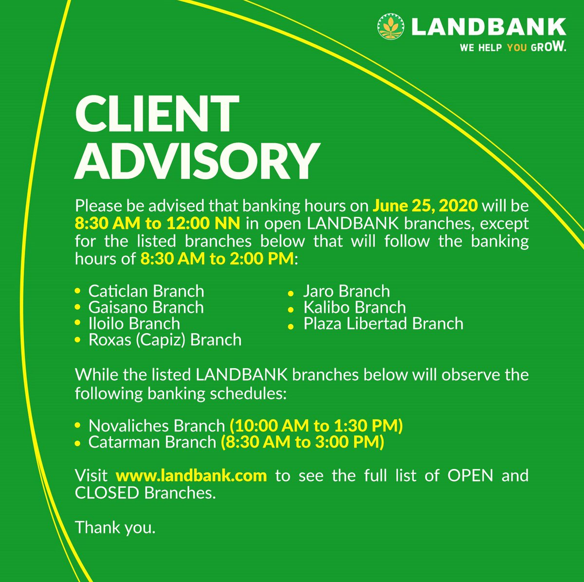#LANDBANKClientAdvisory  To see the full list of OPEN branches, visit https://t.co/z8I58m4hwN  To see the full list of CLOSED branches, visit https://t.co/Uu1Lt77dCF https://t.co/k0bqg5vLOo