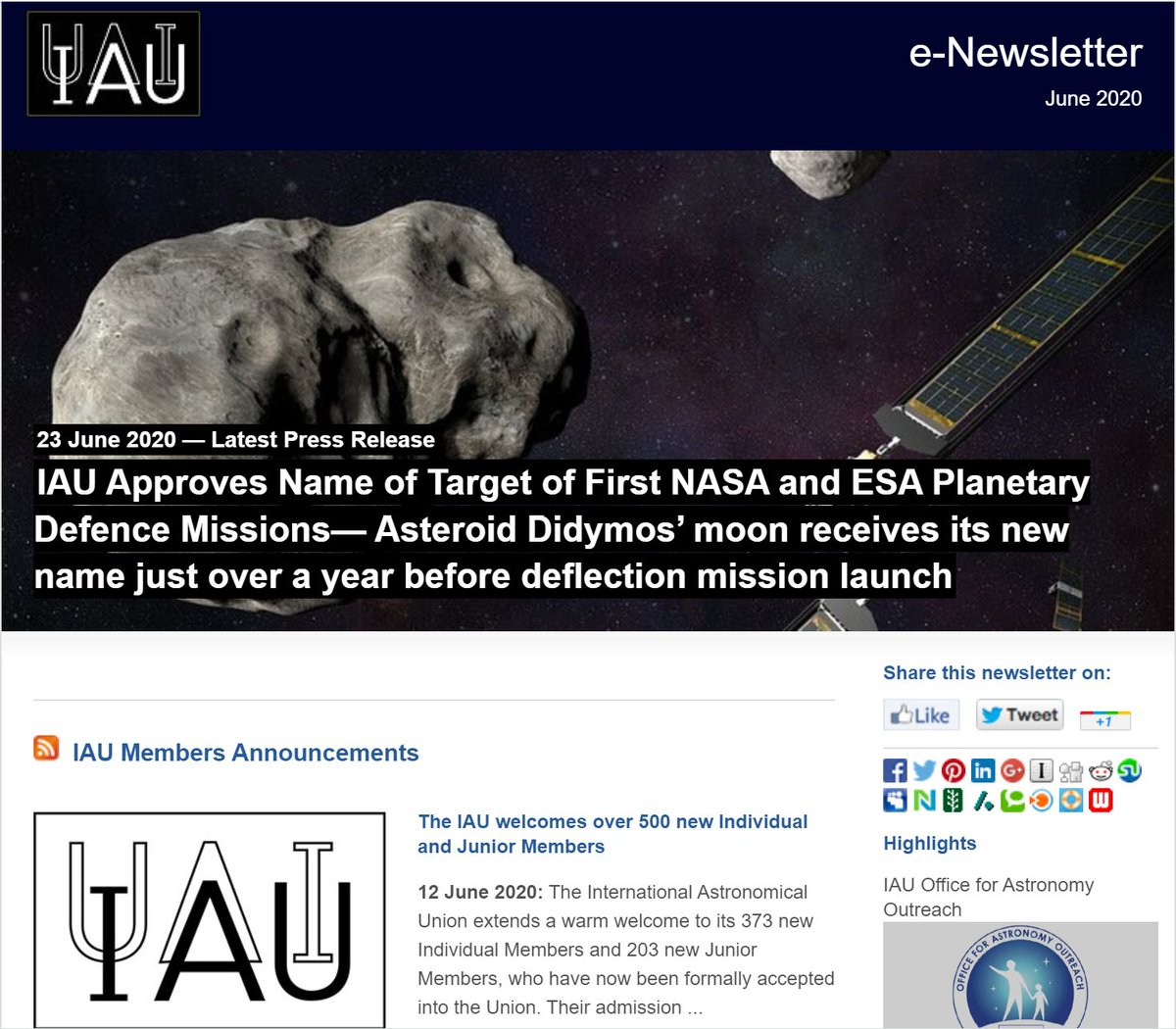 #IAUpublications The latest IAU e-Newsletter is now available. Read it here: ow.ly/dzFy50AfRhO Sign up for the IAU e-Newsletter here: ow.ly/UBEl50AfRhP
