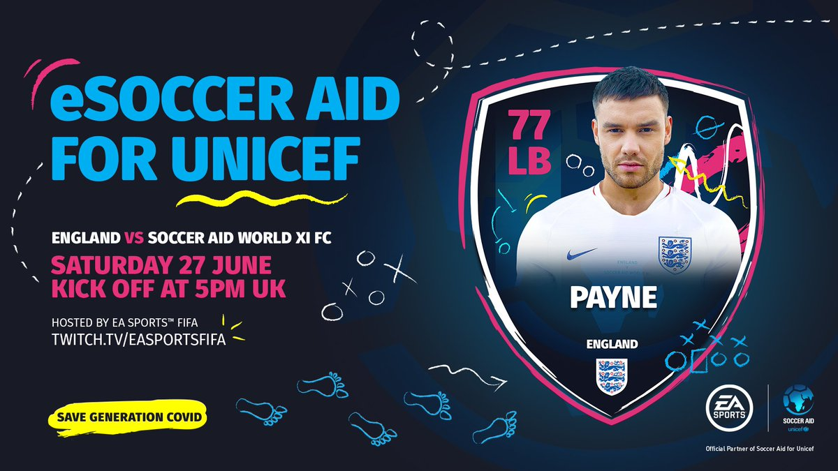 Excited to announce I'm playing in eSoccer Aid on Saturday! 🎮⚽ @SoccerAid for @UNICEF_uk have teamed up with @EASPORTSFIFA to help stop impact of coronavirus on children's lives Info here 👉 socceraid.org.uk/esocceraid