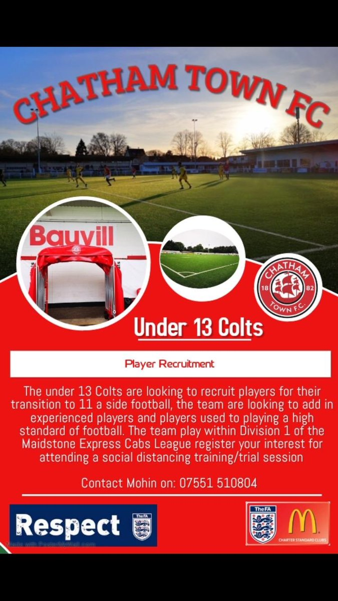 Chats are on the look out for some Players for our Under 13 Colts side ⚽️If you know of anyone who may be interested the details are below 👇🏼👇🏼#UpTheChats 🔴⚫️🔴 https://t.co/tlG3dhw9lN