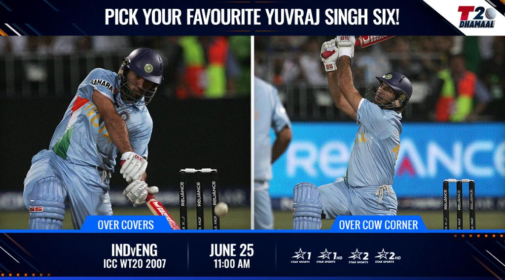 Which @YUVSTRONG12 6⃣ from #INDvENG in the ICC #WT20 2007 is your favourite?  Tell us 👇 & #ReLive all the hits with #T20Dhamaal! https://t.co/WEy9tq9zhD