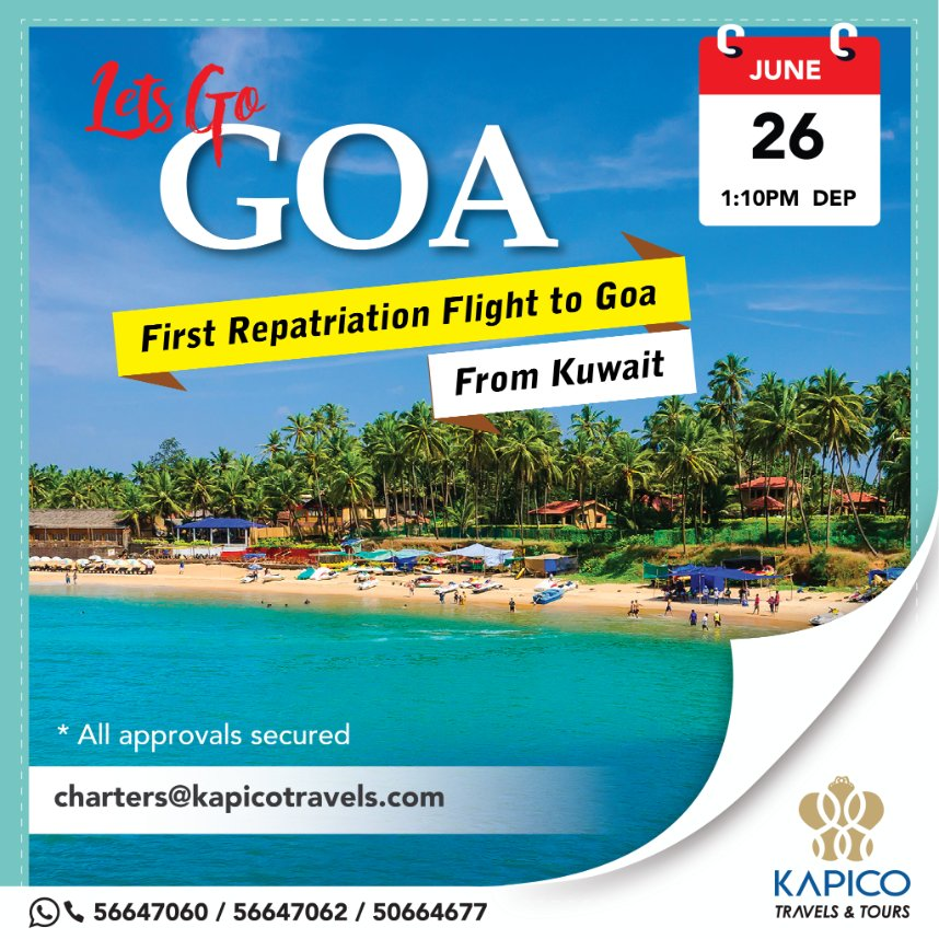 Lets Go Goa! Frist repatriation charter flight to Goa from Kuwait organized by KAPICO Travels with @IndiGo Airlines.  #kapico #kapicotravels #LetsIndiGo #indigoairlines #india #charterflights #aviation #travels #travelagency #flysafe #flybacktoindia #repatriationflights #kuwait https://t.co/LvAPcqlZw0