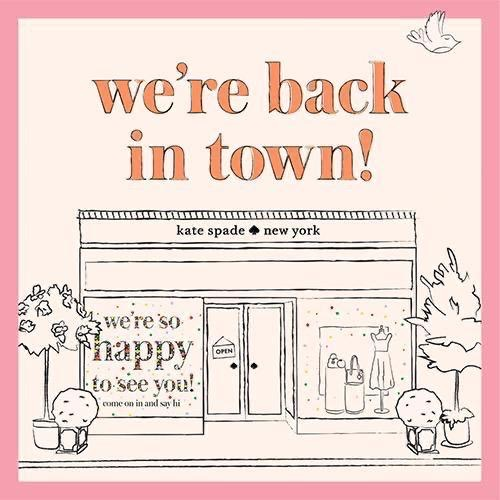 Kate spade new york has re-opened their doors and are excited to see you again. What's new? Additional cleaning, precautionary social distancing and lots of new arrivals. See you soon. They will also be offering contactless curbside pickup. Call for more details. https://t.co/Opx2334PPT