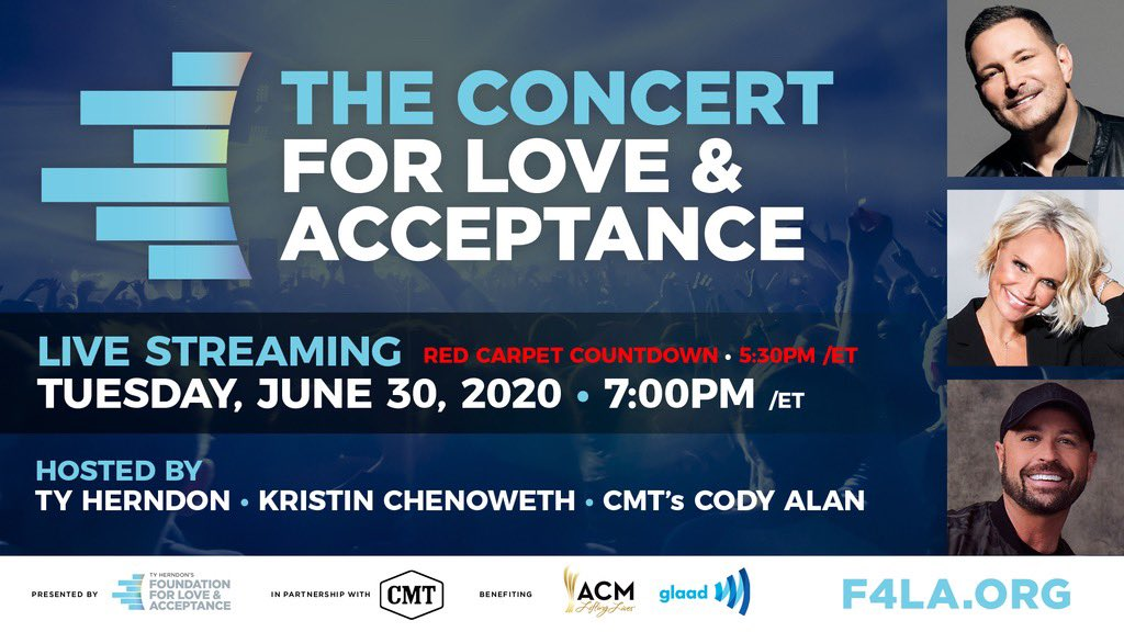 #ACMLiftingLives is partnering with The Concert For Love & Acceptance! The musical event will stream exclusively on @CMT's Facebook and YouTube channels at 7/6c. Tune into the Red Carpet Countdown beginning at 5:30 pm ET on the Foundation For Love & Acceptance Facebook page. https://t.co/JzXk0CdX1g