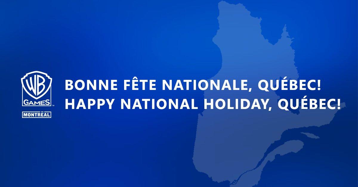 Aujourd'hui c'est la fête nationale du Québec! WB Games Montréal vous souhaite une bonne St Jean à tou.t.e.s!   🎉  Today is Quebec National Holiday! WB Games Montreal wish you a Happy Saint-Jean! https://t.co/VCwAqEFYRO