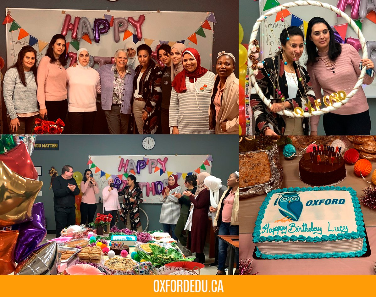 Lucy is a very valuable member of our Mississauga team and an Educational Consultant .  Here are some pictures from her birthday celebration .  Birthdays are always fun at #OxfordCollege. We wish her the best! pic.twitter.com/wq9oXoocvs