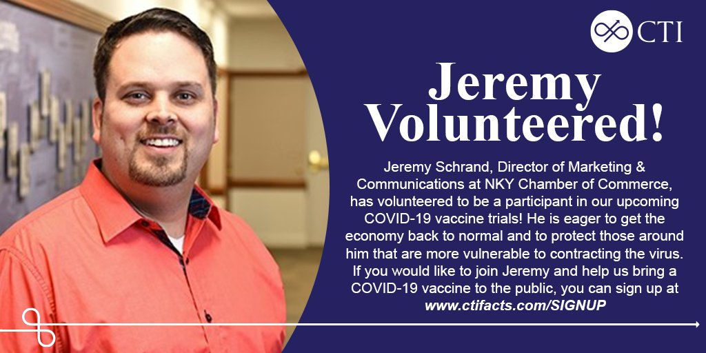 Thank you to Jeremy Schrand, Director of Marketing & Communications at NKY Chamber of Commerce, for helping us get one step closer to bringing a #COVID19vaccine to the public!   To find out more and to join Jeremy, visit https://t.co/MC08035sJ3 https://t.co/457Q6gOuxP