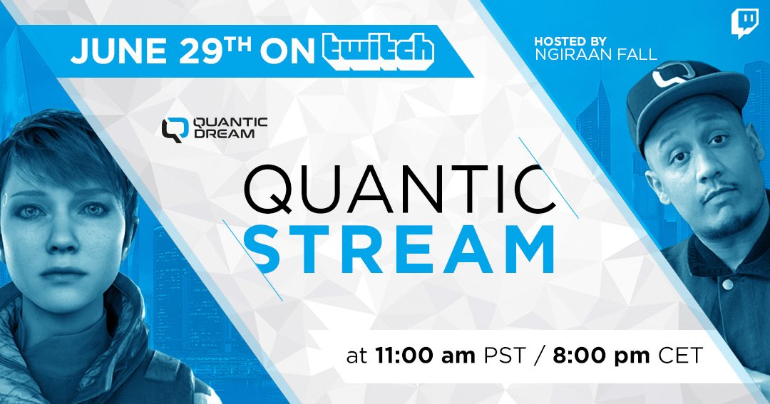 Hey! @Quantic_Dream will stream in Twitch next Monday, June 29th at 11am PDT 👾  We want to know YOUR questions!   The topic of the stream will be about Kara 🥰🤖 #DetroitBecomeHuman #DBH   Please reply below with your questions for the team! https://t.co/QYa2VPJTcT