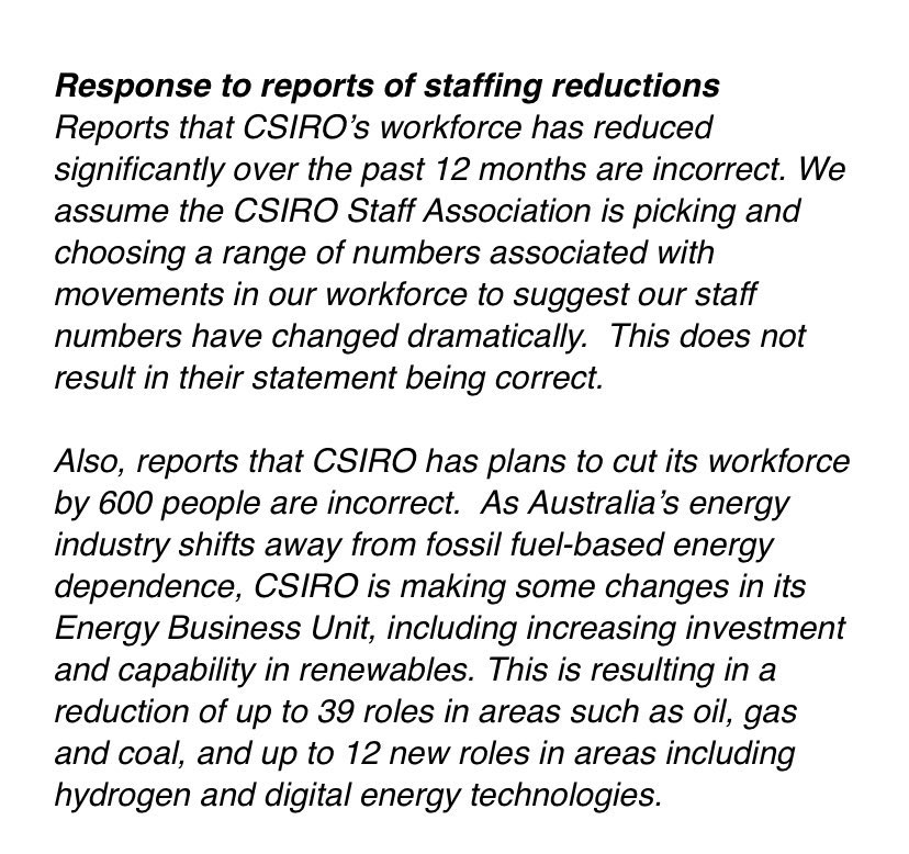 Total employed headcount at CSIRO has reduced by 579 (~10%) in the past 12 months. That's a 579 reduction in secure jobs. Some work has been engaged back through labour hire. We're calling it out. Every secure job at CSIRO is important. https://t.co/VOotkgXG6c