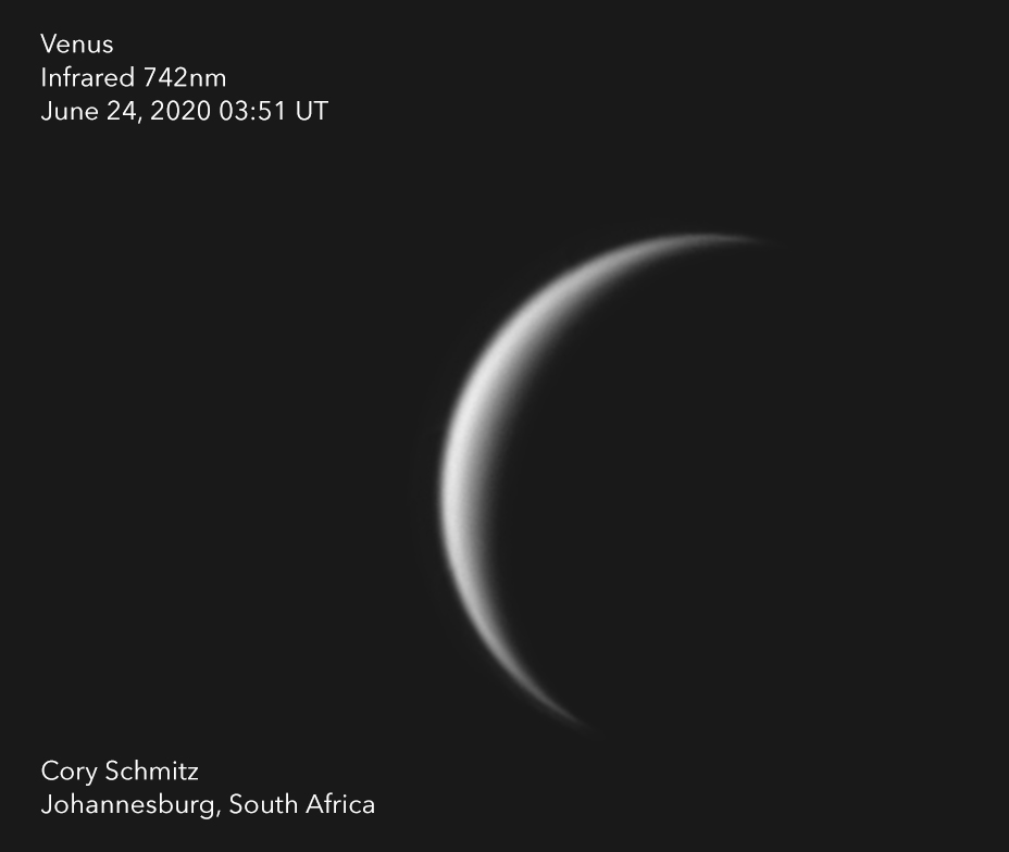 I don't often shoot Venus, but when I do, it looks like it did this morning.  #Venus in infrared, June 24, 2020, from my backyard in South Africa.  I *almost* missed it completely.  #astronomy #AstroPhotography #planetary #infrared https://t.co/O8Q2yzDvtZ