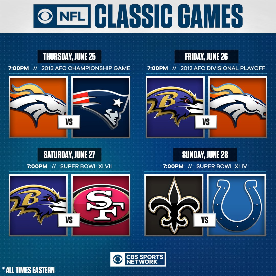 CBS Sports and the NFL are again partnering to bring NFL ON CBS Classics to CBS and @CBSSportsNet beginning on tomorrow, highlighted by the 2019 AFC Championship Game between the Titans and Chiefs, July 5 on CBS.  https://t.co/wniq3q9MHp https://t.co/8X9hUTJImZ