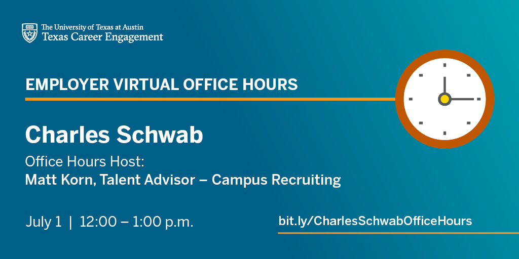 Interested in working in the #finance industry (including roles for all majors)? RSVP for virtual office hours next week (7/1) from 12:00 - 1:00 p.m. with @CharlesSchwab and get informal advice for your job search: https://t.co/aPg6yUIDIf #ut20 #ut21 https://t.co/PcZaePaMMr