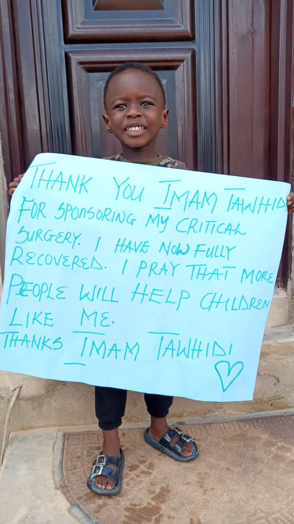 Thank you Imam Tawhidi for sponsoring my son's critical surgery. He is now fully recovered. I pray that more people will help children like him. God bless you sir @Imamofpeace ❤️❤️❤️🙏🙏❤️❤️❤️ https://t.co/HkZZchKADt