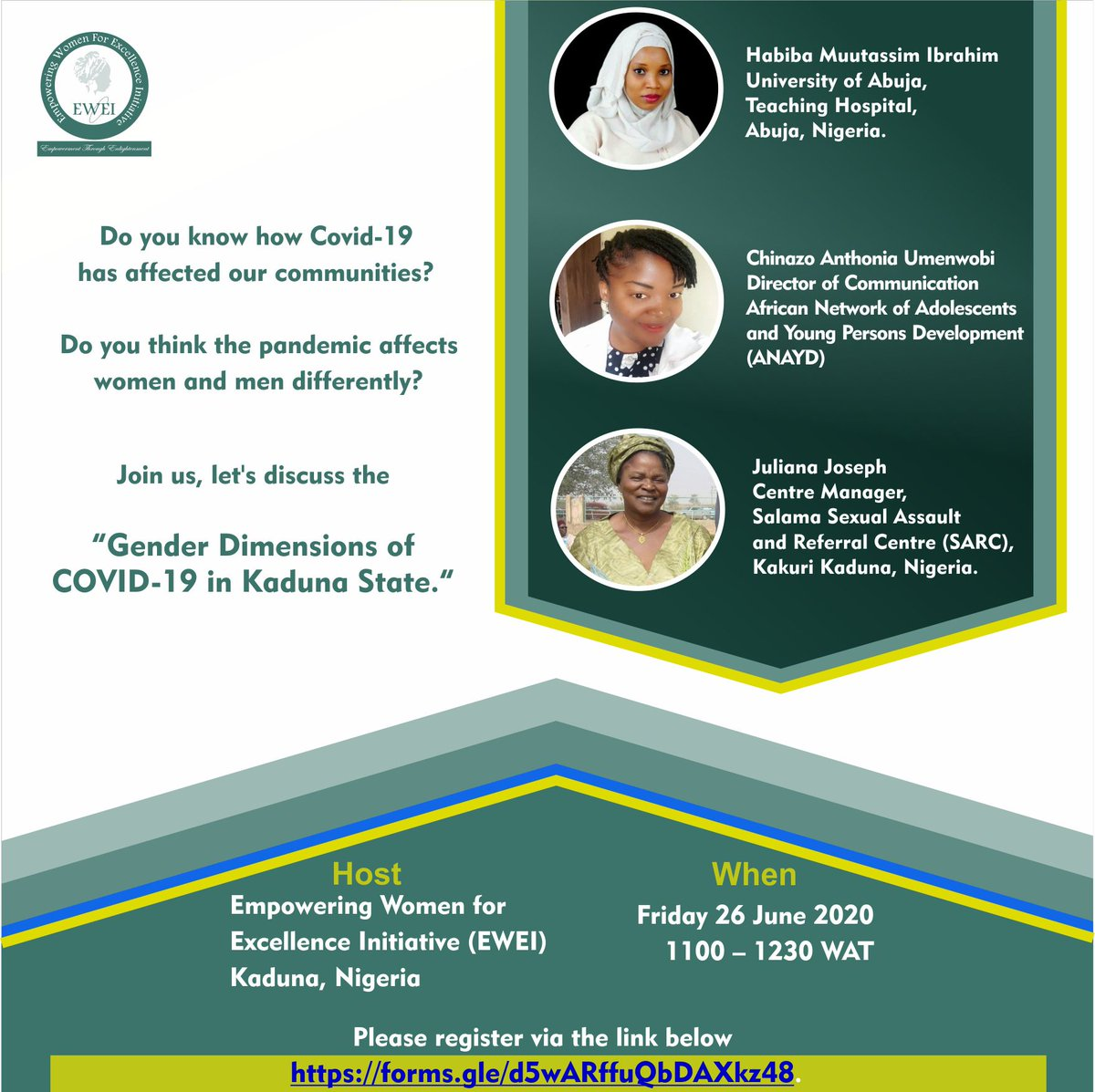 """Join us, let's discuss the """"Gender Dimensions of COVID-19 in Kaduna State.""""  Register via the link below to be part of the conversation.  https://forms.gle/d5wARffuQbDAXkz48…pic.twitter.com/UHYwDsLlaC"""