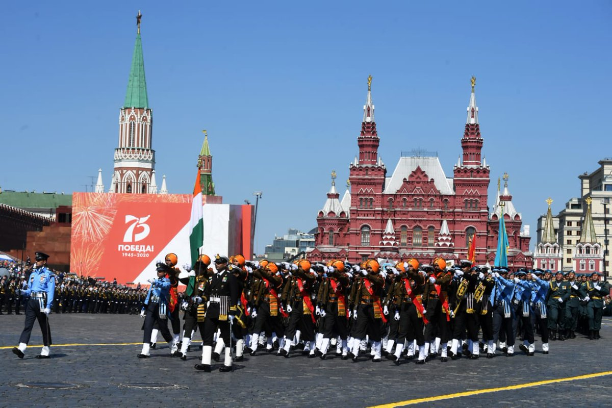 #IndianArmedForces Tri-Service Contingent marched at Red Square Moscow, Russia as part of 75th Anniversary of #VictoryDay.  #VictoryDayParade #IndiaRussiaPartnership https://t.co/8ZNJ3QtzyK
