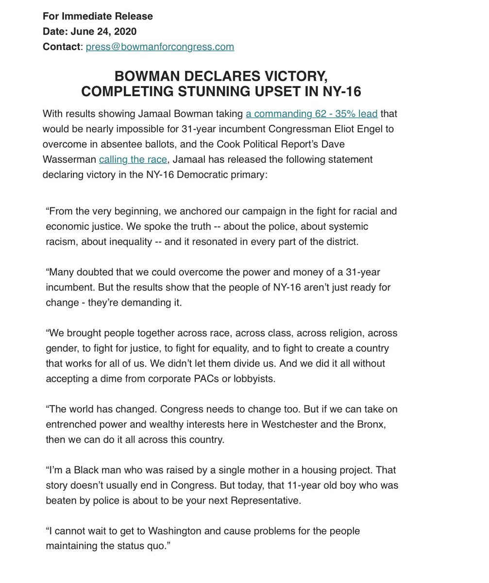 """Rebecca Kaplan on Twitter: """"NY-16 has yet to be called (mail-in ballots are  still being counted) but @JamaalBowmanNY is declaring victory over  16-term incumbent @RepEliotEngel, who chairs @HouseForeign —>…  https://t.co/oeU3Th2KNq"""""""