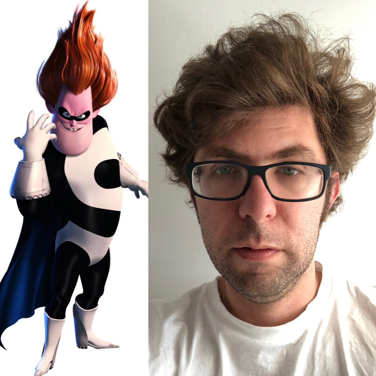 With a few people comparing their lockdown hair to cool celebrities from yesteryear, I am happy to reveal that I am modelling my lockdown hair on Syndrome from The Incredibles. (No product was used in the making of this hairdo). https://t.co/oFinrzzfgZ