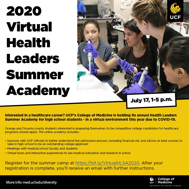 Applications are open to high school students in Orange and Osceola counties for our annual Health Leaders Academy to be held online on July 17.  Register at https://t.co/pezjU4xvEV  Applications close July 7. https://t.co/VPBRWDbd7m