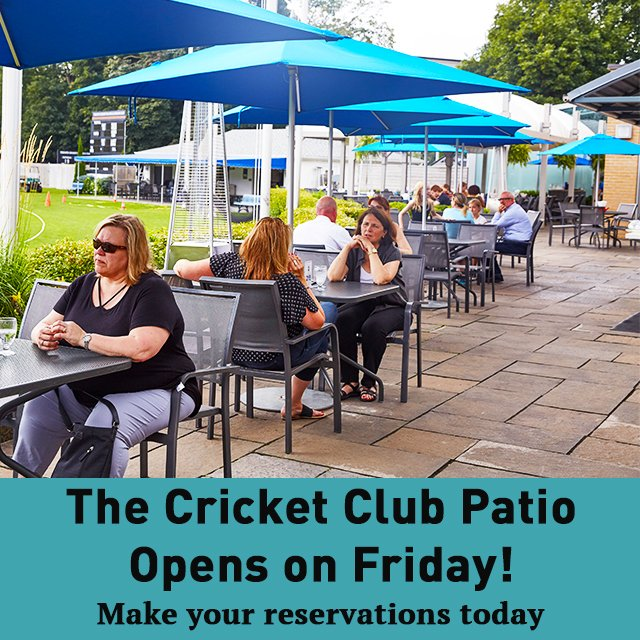 The Cricket Club Patio is back this Friday! Reservations are required and are now open. Visit https://t.co/qz0TOrxjud to find out how to make your reservation and for more information #TCSCC #PatioSeason https://t.co/AjMQxYawUo