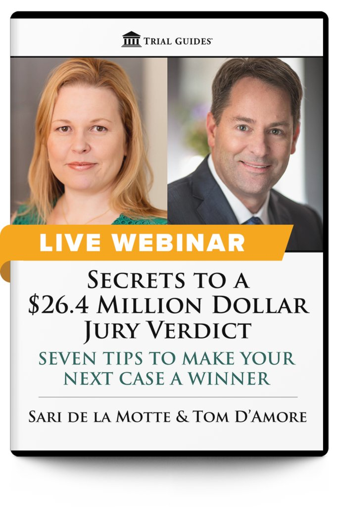 New Webinar!  Secrets to a $26.4 Million Dollar Jury Verdict: Seven Tips to Make Your Next Case a Winner - with Sari de la Motte and Tom D'Amore  August 19, 2020 ♦ 12:00 PM ET ♦ 9:00 AM PT  Register and learn more here: https://t.co/xuTEqkXprf https://t.co/Ej3q0xa2Bn