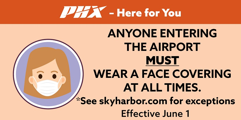 Reminder: All employees and members of the public entering Sky Harbor facilities including the terminals, the Rental Car Center, the PHX Sky Train®, and Airport buses are required to wear a face covering. https://t.co/U9OHmM0Vhl https://t.co/ikxKePkXDM