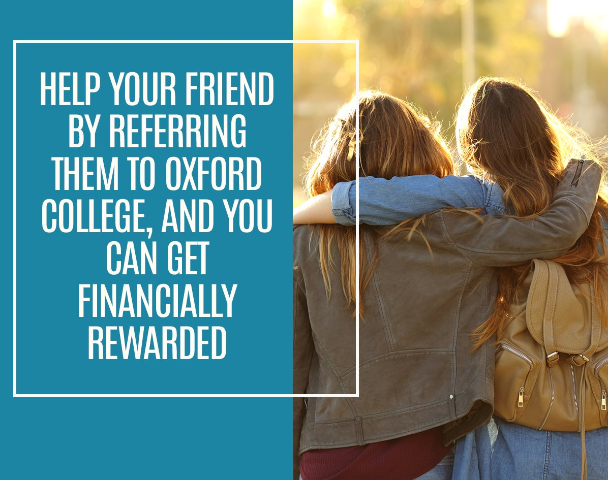 Do you know someone who would benefit from an education at #OxfordCollege?   Refer a friend to our #college! When they register and attend their classes for at least 30 days, you'll be eligible for a reward. Learn more: https://hubs.ly/H0ryPnX0   #OxfordCollege #OxfordEdupic.twitter.com/rl9cuXpMaU