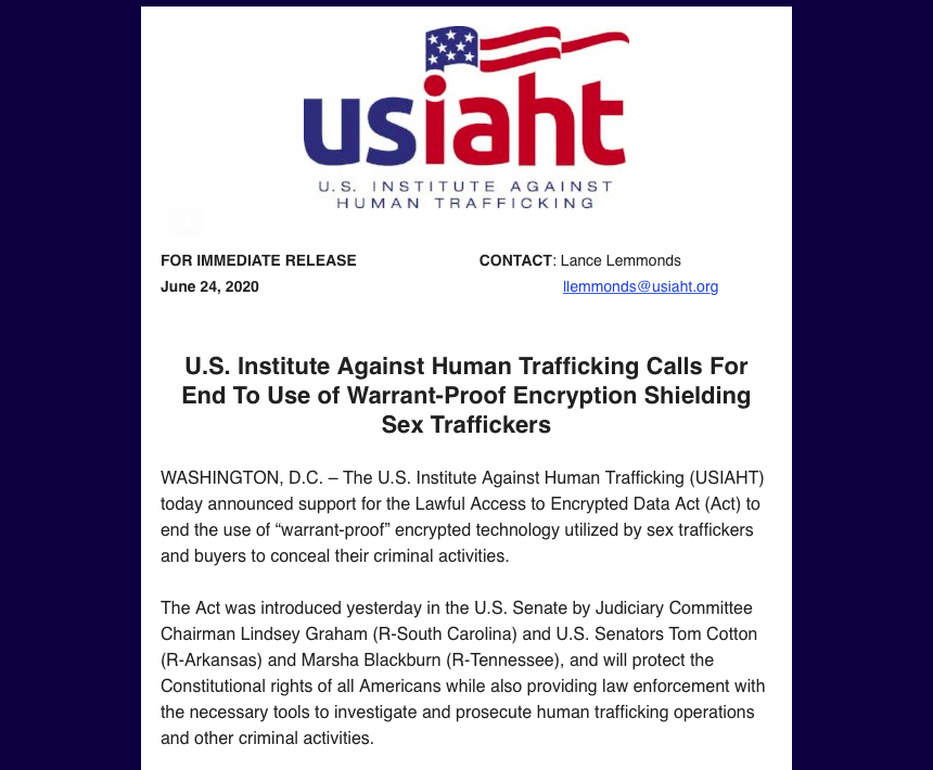 """USIAHT supports the Lawful Access to Encrypted Data Act to end the use of """"warrant-proof"""" encrypted technology utilized by traffickers & buyers to conceal criminal activity. Join us & Advocate to #endhumantrafficking! Thank you @LindseyGrahamSC  @MarshaBlackburn @TomCottonAR ! https://t.co/q3vDPQvwnn"""