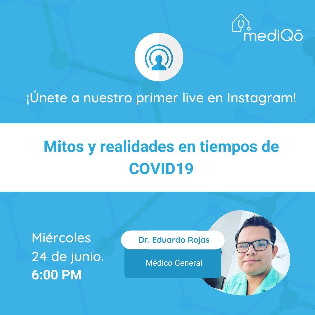 ¡Los invitamos a que se unan a nuestro live en Instagram! Hoy a las 6:00 PM. Encuéntranos como @mediqo https://t.co/ZJLjLik5Z3