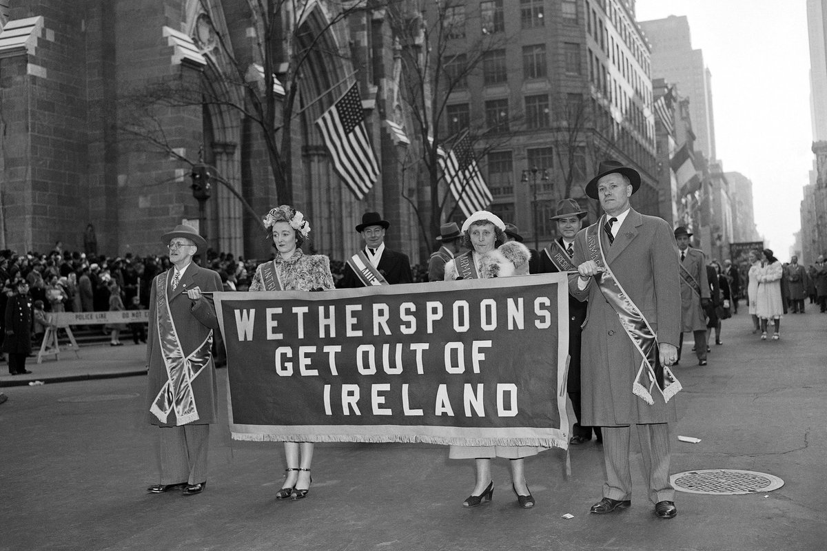Anti Wetherspoons activists march in the New York St. Patrick's Day parade, 1968.