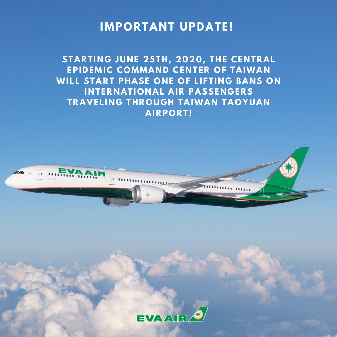Important update! Starting June 25th, 2020, the Central Epidemic Command Center of Taiwan will be lifting bans on international air passengers traveling through Taiwan Taoyuan Airport.   Please visit our website for further information and conditions: https://t.co/VNsDjpXu5U https://t.co/HwKWjyKm5R