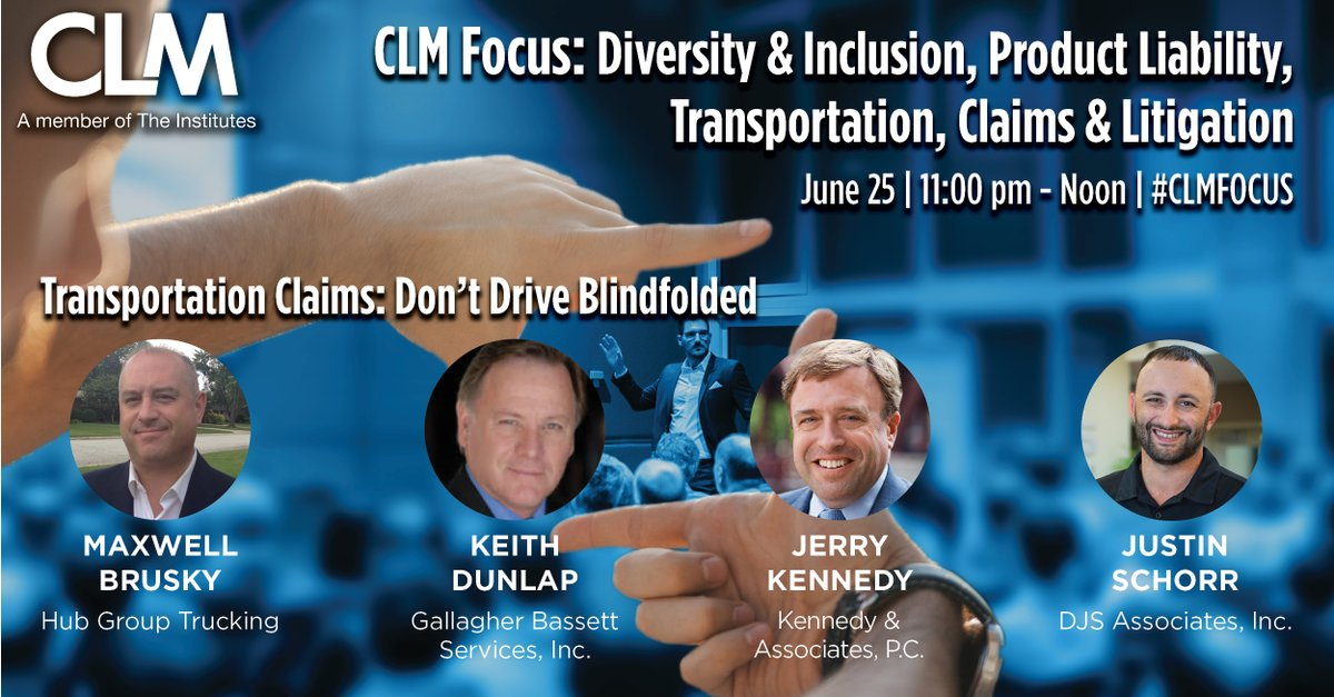 Keith Dunlap will be speaking at the @TheCLMalliance #CLMFOCUS 2020 CLM Focus: Diversity & Inclusion, Product Liability, Transportation, Claims & Litigation Conference virtually on June 25th. Click below to register. bit.ly/2BC7966.