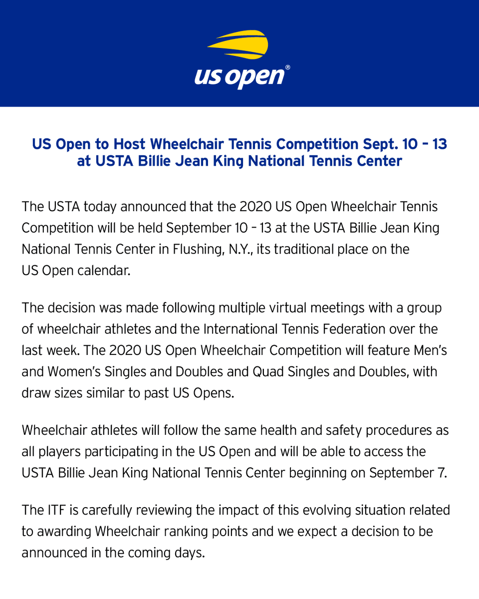 The US Open will host the Wheelchair Tennis Competition Sept. 10-13 at the Billie Jean King National Tennis Center in Flushing, N.Y. https://t.co/QAwwvp8PfA