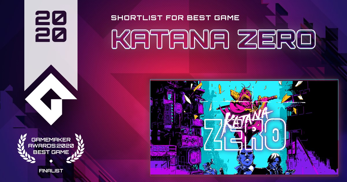 Katana ZERO from @askiisoft is a stylish neo-noir, action-platformer featuring breakneck action and instant-death combat.  VOTE Katana ZERO for Best Game! https://t.co/sOoL4ZlEJ3 #GameMaker #GMBestGame https://t.co/7cDb3tvvYW